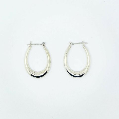 Genuine 925 Sterling Silver Modern Style Polished Oval  Hoop Creole Earrings